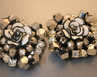 2pcs-40mm  Premo Flower Biz on Felt With Glass,cubic For Accessory,Jewelry,Shoes,Art deco ETC.(A309)