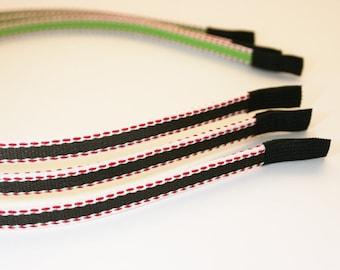 3Pcs-5mm Handmade HighFlexMetalHeadband Covered with Cotton Stitch Ribbon (E265-Dark Browm)
