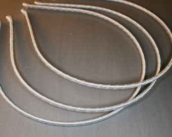 3PCS-3mm Handmade Metal Headband wrapped with Satin Ribbon 7Colors -Ivory (G110-IV)