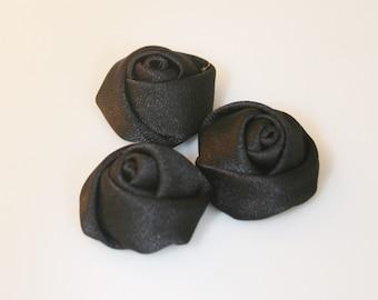 10Pcs-25mm 7Colors Small Satin Roses Flower(F201-Black)