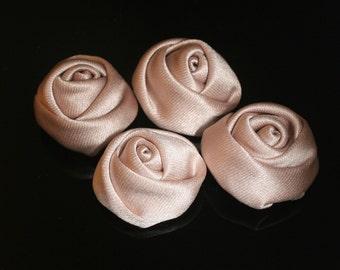 10Pcs-25mm 7Colors Small Satin Roses Flower (F201-Beige)