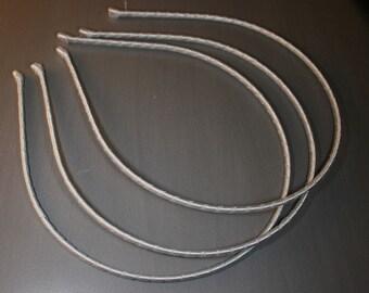 10PCS-3MM Handmade Metal Headband wrapped with Satin Ribbon 7Colors -Light Gray (G110-GR)