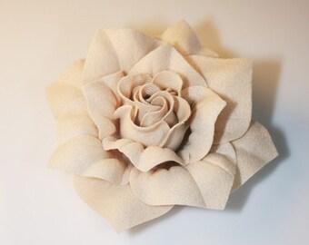 5pcs-82mm 7Colors Hard Felt Square Roses Flower for corsage,shoes,accessory etc.-Beige(F208-BE)