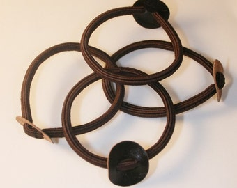 12PCS-Brown hair elastic ponytail ring with 20mm leather circle(C113-BR)