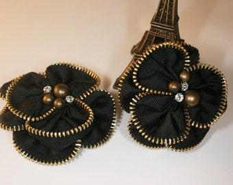 2pcs-78mm 2Colors Antique Bronze Zipper Flower for corsage,shoes,accessory etc.-(F234-Bronze)