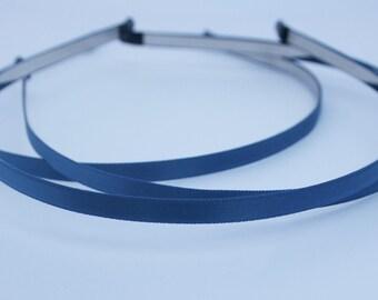 3PCS-5MM High Flex Metal Headband covered with Satin Silk and Rubber Tips, Handmade -Navy Blue (E200-NB)