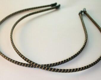 4pcs-4mm Leather Wrapped Metal Headband, Handmade, 7Colors - BLACK (F242-Black)