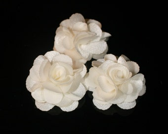 5Pcs-25mm 10Colors Small Satin Flower-Ivory(F220 -Ivory)