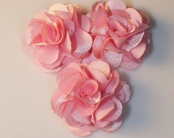 5Pcs-25mm 10Colors Small Satin Flower (F220-Pink)