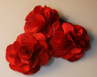 5Pcs-25mm 10Colors Small Satin Flower(F220-Red)