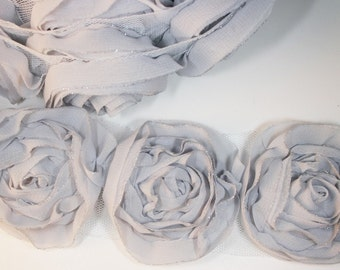 1yd-18pcs(43mm) organza rose trim 9colors for hair accessory,clothing,deco,etc. (D314-Gray)