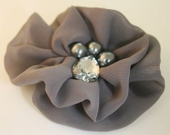 50%off 2pcs80mm Rhinestone Centered Chiffon Flower for corsage,shoes,accessory etc.7colors(F243Gray)
