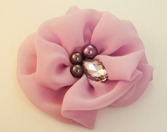 50%off 2pcs-Chiffon Flower, Rhinestone Centered  for corsage,shoes,accessory etc.80mm(F243Lightpurple)