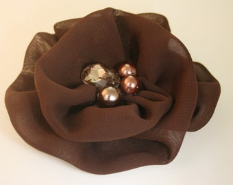 50%off 2pcs80mm Rhinestone Centered Chiffon Flower for corsage,shoes,accessory etc.7colors(F243Brown)
