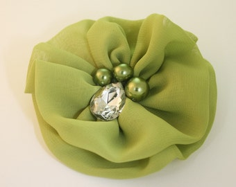 50%off 2pcs-80mm Rhinestone Centered Chiffon Flower for corsage,shoes,accessory etc.7colors(F243Green)