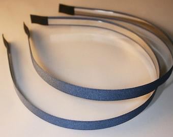 10PCS-10MM Grosgrain Ribbon High Flex Metal Headband and End Fabric tape tip, Handmade -Navy Blue (E201-Navy Blue)