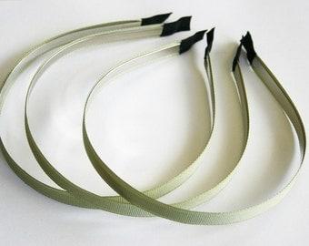 10PCS-10MM GROSGRAIN Ribbon Metal Headband-OLIVE GREEN