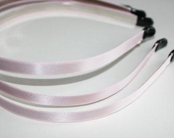 10PCS-10MM Handmade Satin Headband with end rubber tip -LIGHT PINK(E260-LP)