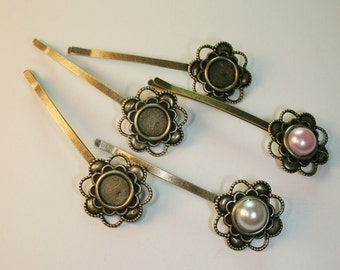 Bobby Pin with Filigree Pad Antique Bronze 20pcs-Pad 10mm, Total Length 68mm (C515-20)