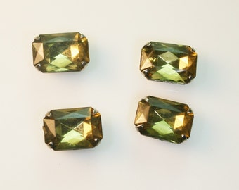 10pcs-10mmX15mm Fancy Rectangle Rhinestone Cut  With Attachable Metal Wrap(A456-Green)