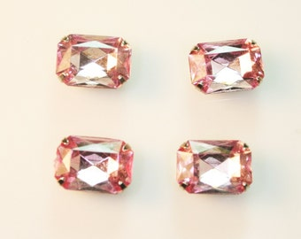 10pcs-10mmX15mm Fancy Rhinestone Rectangle Cut  With Attachable Metal Wrap (A456Pink)