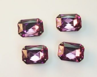 10pcs-10mmX15mm Fancy Rhinestone Rectangle Cut  With Attachable Metal Wrap (A456Purple)