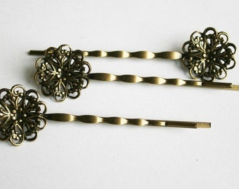 20PCS-PAD20MM Antique Bronze Bobby Pin with Filigree Pad(C519)