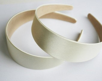 6PCS-40MM Handmade Satin Headband-IVORY(G103-Ivory)