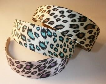 12PCS-40MM Handmade Animal Print satin headband-3colors - 2pcs of each color(G105-7)