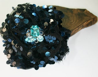 2pcs-95mm Organza Ruffle With Sequin Flower 5colors-black organza,navy blue sequin(F253navy blue)