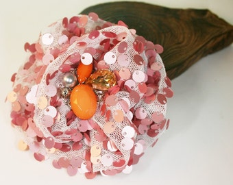 1pcs-95mm Organza Ruffle With Sequin Flower 5colors-white organza,indipink sequin(F253 indipink)