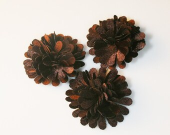 10Pcs-18mm 10Colors Small Satin Mum Flower (F219-Brown)