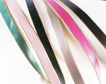 2yd-10mm Gold Line Artficiall Leather Ribbon Trim -Choose Color(E205)