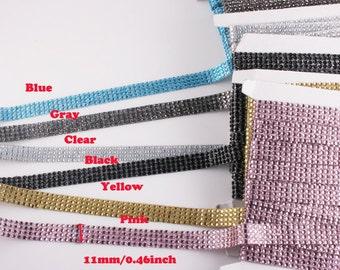 2YD-11mm Hotfix And Glitter Ribbon Trim,Tape-6Colors-Choose colors(E237)