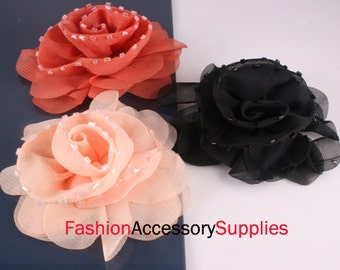 2pcs-90mm Biz Centered Chiffon Flower for corsage,clothing,accessory and more-Choose color(F212)