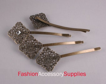 10PCS-Pad 72mm Antique Bronze Bobby Pin with Filigree Pad(E282)