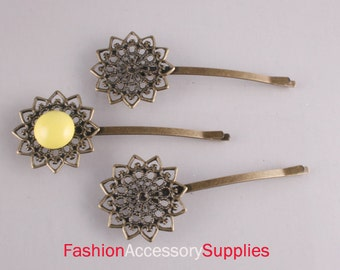 20PCS-Pad 75mm Antique Bronze Bobby Pin with Filigree Pad(E284)