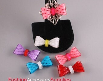12pcs-Cute Ribbon Bow Celluloid Cabochon For Accessory,jewely,Bag,Art deco and more-(C569)