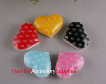 50pcs-Dot Heart High Quality Plastic(Formica) Cabochon For Accessory,Jewelry, Art deco and More-6of each color(C580)