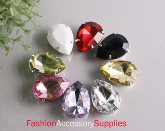 8pcs-25mmX18mm Big Water Drop Cut With Attachable Metal Wrap 8Colors-1 of each color(A158)