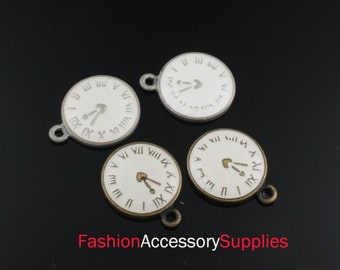 2pcs-14mm Antiqued Bronze,Silver Brass Epoxy Watch,Clock  charms,Pendants 1of each color(A126-A)