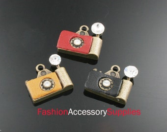 3pcs-17mm Antiqued Bronze Brass Camera With Cubic,Leather charms ,Pendants 1of each color(A478)