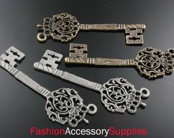 4pcs-65mm Antiqued Bronze,Silver Patina Crown Key charms,Pendants2 of each color(A491)