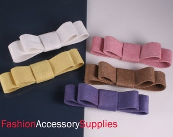 4PCS-100mm Suede Ribbon double Bow made of Specially Formulated Fabric,thin,soft but hold the shape -Choose Color(B233)