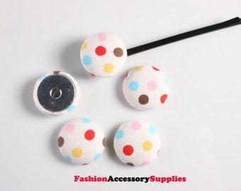 30pcs-20mm colorful dot fabric button Cabochon(C583)
