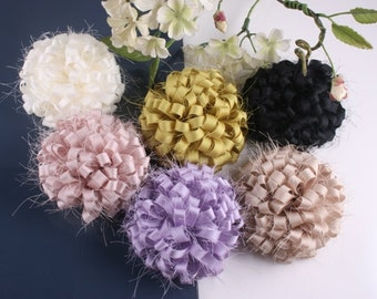 12pcs-70mmX H 30mm satin flower for corsage,shoes,accessory etc.6Colors(F246-6Colors)