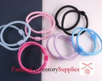 12Pcs-Hair elastic ponytail Ring With Plastic - 2 of each colors (E242-B)