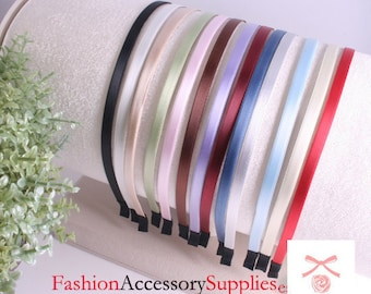 3PCS-5MM Handmade High Flex Metal Headband covered with satin silk and End Fabric tape tip-Choose Your Colors(E221)