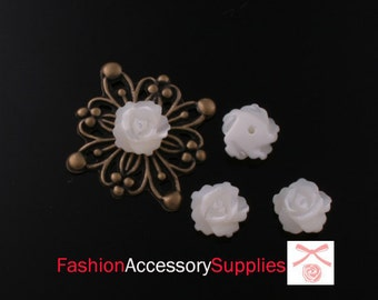 Hand Carved  Mother of Pearl Roses Beads-8mm  -4pcs(A476-F)