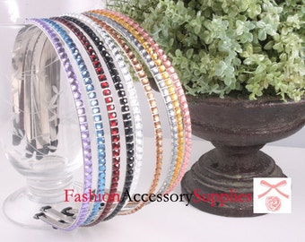 9PCS-5MM Acrylic Hotfix Metal Headband, Handmade - 1 of each color (F254)
